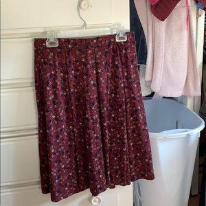 LuLaRoe Large Maroon Floral Print Madison Skirt